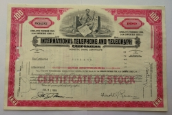 Akcie - Internacional telephone and telegraph corporation - USA - kopie